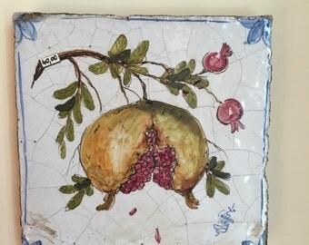 Ceramic Pomegranate Tile * Mattonella Quadretto di ceramica con Melograna