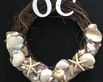 Grapevine Personalized Shell Wreath