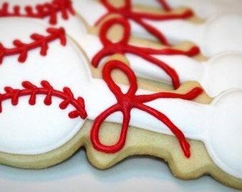 Baseball Baby Rattles Sugar Cookies