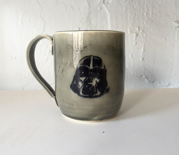 Handmade grey ceramic darth vader themed mug
