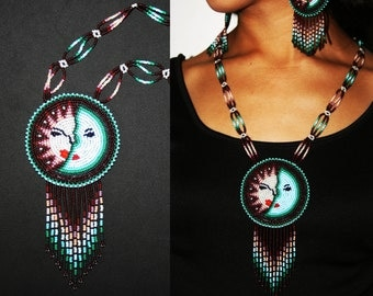 Native American Beaded Necklace, Eclipse Necklace, Huichol Necklace, Huichol Jewelry, Native Jewelry, Seed Bead Necklace, Statement Necklace