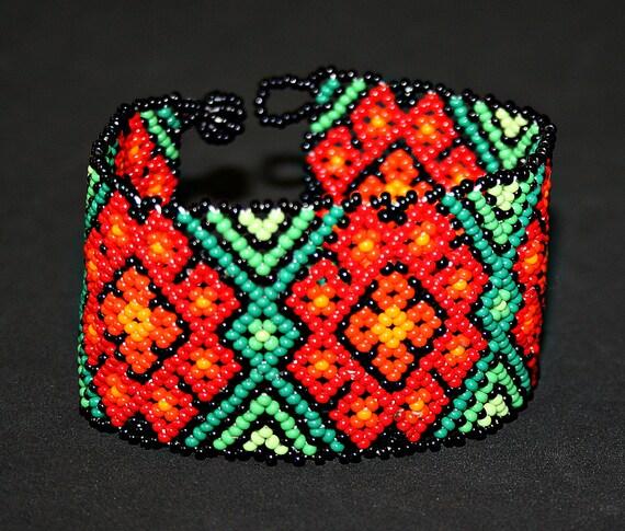 Peyote Huichol Bracelet, Native American Beaded Bracelet, Red Peyote Flower Bracelet, Seed Bead Cuff Bracelet, Hippie Bracelet, Traditional