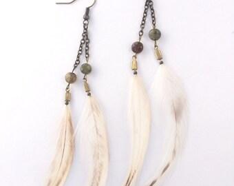 Delicate Green Garnet Feather Earrings
