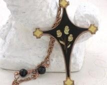 Rose Cross Necklace, Long Cross Necklace, Cross Necklace for women, Cross Pendant Necklace, Black Crystals on Copper Chain