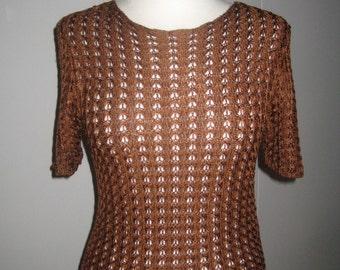 vtg YSL rive gauche # crochet top #chocolate-brown viscose/ rayon # size S