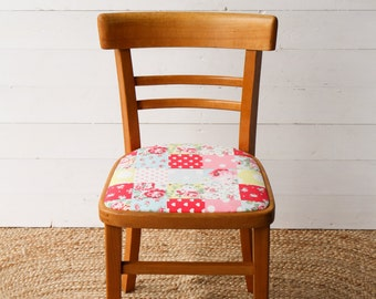 Vintage Retro Reupholstered Wooden Kitchen Dining Chair Cath Kisdton Fabric