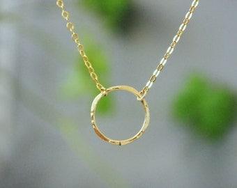 Gold karma necklace. 14k Gold Filled. Valentine Day gift. Karma Circle Necklace. Gold Circle Necklace. Eternity Necklace. Karma Necklace
