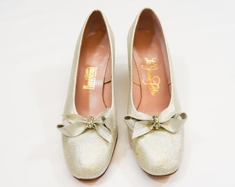 60s Silver Shoes | Size 9 Silver Lame Pumps | Mod Heels with Bows | Low Mod Heels | Nordstroms