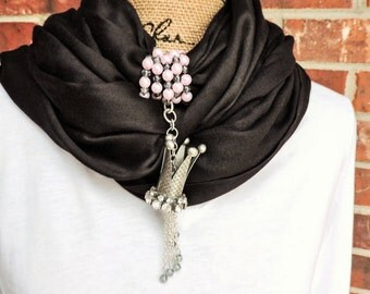 Silver queens crown scarf wrap