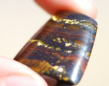 Tiger Iron, Ironite Cabochon, Black, Golden, Orange Color, Trapezoid shaped, approximately 25 x 25mm, C4549