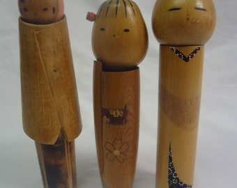 Gorgeous Vintage Family of Kokeshi Dolls