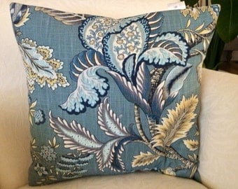 Bold Floral Pillow Cover, Blue Floral Pillow, Light Blue Pillow, Accent Pillow, Decorative Pillow, Toss Pillow