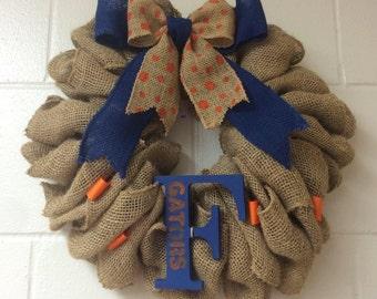 Florida Gator Wreath Burlap Gator Wreath F  University of Florida Blue and Orange