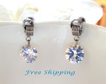 Birthday Gift,Wedding bridal,bridesmaid  Nut Design Dangle Cubic Zirconia  Earrings