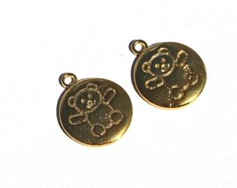 2 Pc Gold Plated Brass Teddy Bear Charm 19x15 mm Teddy Bear Charm Pendant CH16