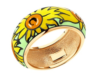 mothers day gift women fine jewelry enamel ring jewerly sunflower ring flower ring floral ring gift for her