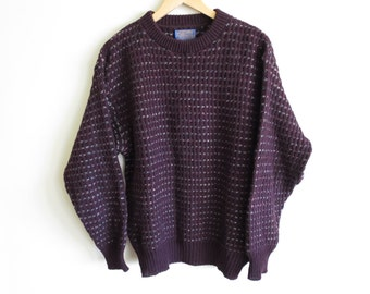 Vintage 70's Pendleton Lobo Weave knit wool sweater | Medium | Made in USA