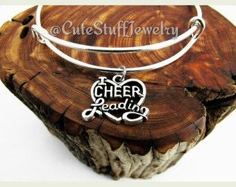 I Love Cheerleading Bracelet, I Love Cheerleading Bangle, Cheerleader Bangle, Handmade Cheerleading Jewelry,  Cheerleader Bracelet, Cheer
