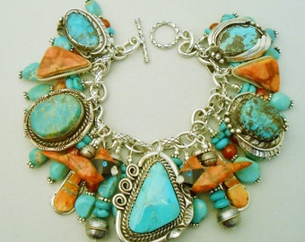 Sponge coral, Turquoise  charm bracelet