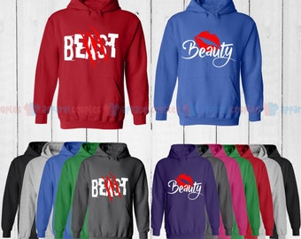 Beast & Beauty - Matching Couple Hoodie - His and Her Hoodies - Love Sweaters