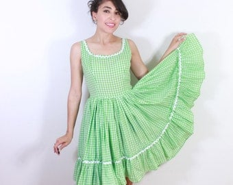 Green and White Gingham 50s Cotton Summer Dress