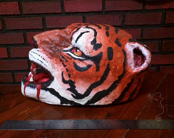 Senche Tiger Khajiit  paper mache clay tiger headdress, mask, orange tiger headpiece, Halloween ferocious feline
