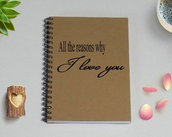 Couples Journal, All the reasons why I love you, - 5 x 7 Journal, Love Diary, Love Journal, Couples Scrapbook, I love you because
