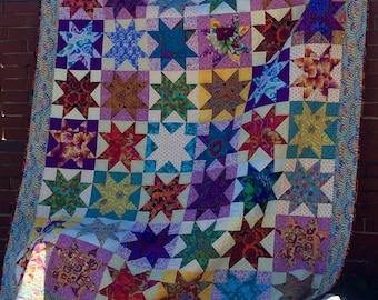 Ohio Star Quilt Kaffe Fassett Designer Fabric, Hand Quilted Heirloom Quality