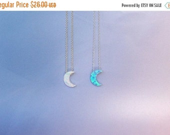 Opal moon necklace solid sterling silver chain, safe to get wet, BEST PRICE ETSY