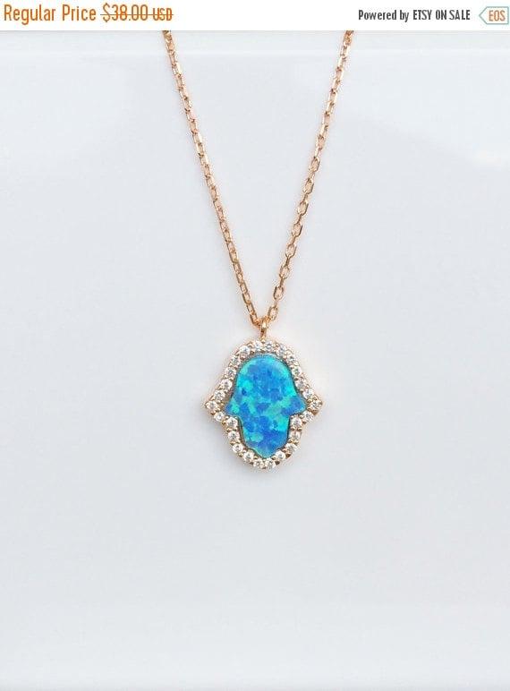 opal hamsa necklace cz rose gold
