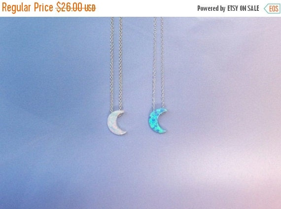 Opal Moon Necklaces • Blue Moon and White Moon • Best Seller Moon on Etsy • 9 Chain Lengths • 2 Chain Styles • Moon and Chain are Waterproof