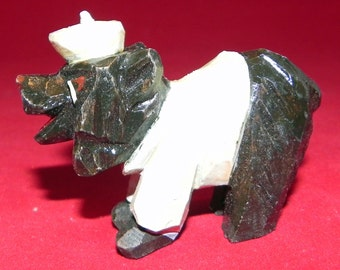 Circa 1950's Anri University of Maine Black Bear Mascot Hand Carved Minature Statue in Mint Condition