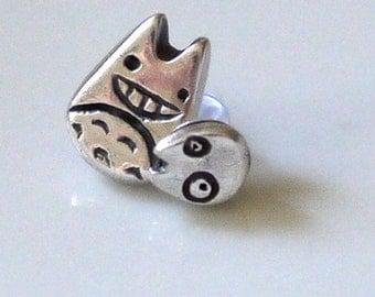 Totoro and Min Silver Earrings (Studio Ghibli Inspired)