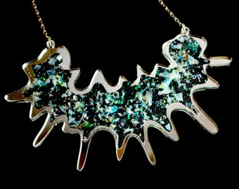 PANIKA Abstract Splash statement necklace