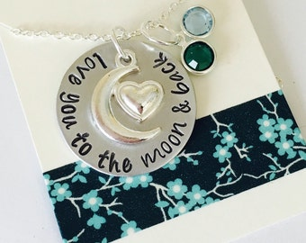 Love You to the Moon and Back Hand Stamped Necklace  With Swarovski Crystals Mom Necklace Grandma Necklace