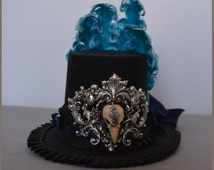 mini top hat black and blue and silver, bird skul,l steampunk, Gothic, Baroque, Rococo
