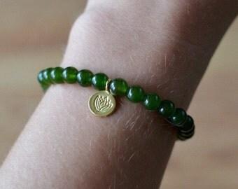 Green Jade Bracelet, Natural Semi-precious Canadian Green Jade Mala w/ 18K Gold Vermeil Lotus Charm NJ607 Endometriosis Everyday Jewelry