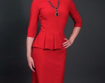 Red knee jersey dress Elegant dress with Basque Occasion Spring Autumn Peplum dress knee Office Business woman clothes Evening