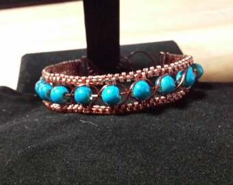 Copper and blue wire wrap bracelet