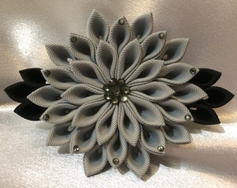 Grey And Black Kanzashi Style French Barrette