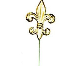 """6"""" Fleur De Lis Pick, Mardi Gras Pick, Deco Poly Mesh Wreath Supplies - MZ1618H6"""
