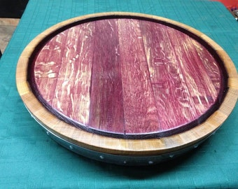 Complete wine Barrel Top Lazy Susan Red Wine Inside up Single Rung