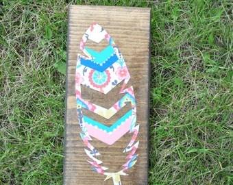 Mixed media chevron feather. item #9