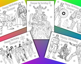 Superhero coloring pages activity, Superhero Birthday Party favor, PDF file