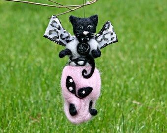 Cat ornament, needle felted black angel cat with fangs