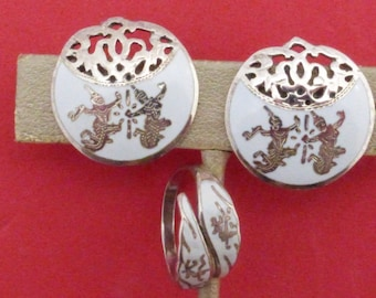 Siam Sterling white niello earrings and bypass ring AA880
