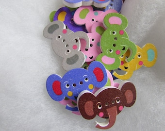 Wooden Elephant Buttons