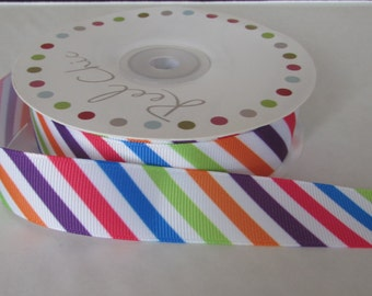 25m Roll 22mm Wide Geometric Multi Stripe ribbon