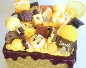 Pretty handmade gold glitter candy choco sweet themed money box gift ideas money saving girls stocking filler christmas present