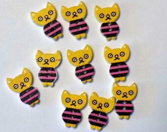 10 Yellow Wooden Kitten Buttons - #SB-00258